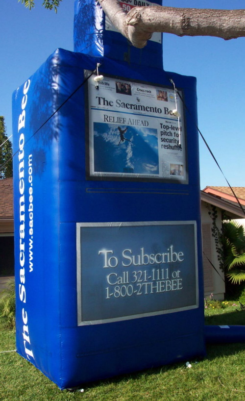 Custom Advertising Balloons sac bee newspaper stand