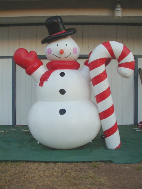 Holiday Inflatables snowman with candy cane
