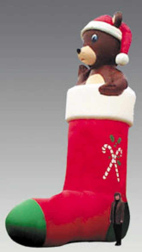 Holiday Inflatables stocking bear