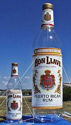 Inflatable Cans and Bottles Ron Llave Rum Bottles