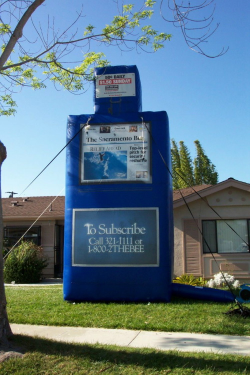Inflatable Product Replicas sac bee newspaper stand